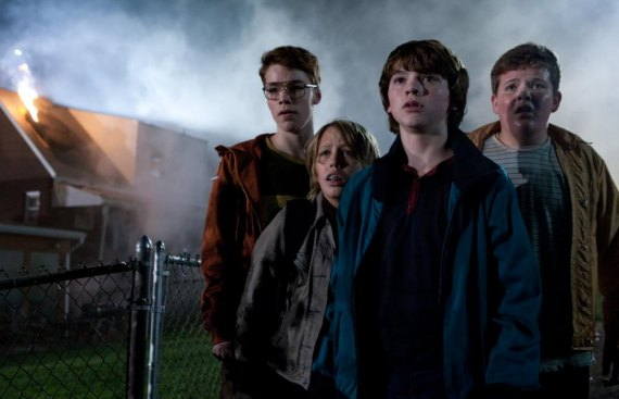 Photo credit: François Duhamel Left to right: Gabriel Basso plays Martin, Ryan Lee plays Cary, Joel Courtney plays Joe Lamb, and Riley Griffiths plays Charles in SUPER 8, from Paramount Pictures. © 2011 Paramount Pictures. All Rights Reserved.