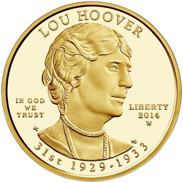 The 2014 First Spouse Series One-Half Ounce Lou Hoover Gold Coin in proof