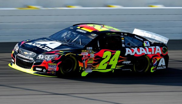 Jeff Gordon, driver of the #24 Axalta Chevrolet, qualifies for the NASCAR Sprint Cup Series Pure Michigan 400 at Michigan International Speedway on August 15, 2014 in Brooklyn, Michigan.