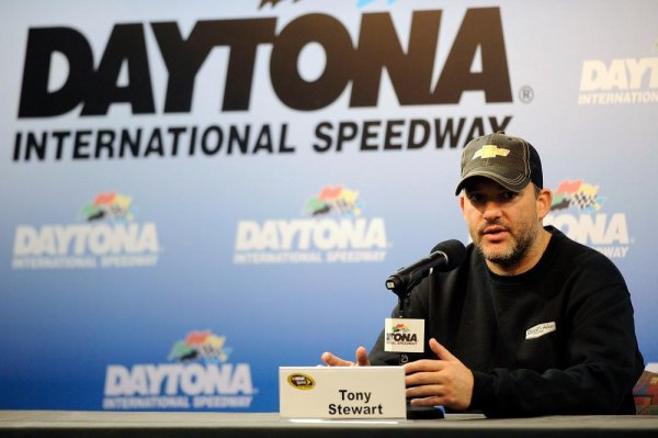 Tony Stewart, co-owner of Stewart-Haas Racing, speaks with the media during a press conference during NASCAR Preseason Thunder at Daytona International Speedway on January 9, 2014 in Daytona Beach, Florida.