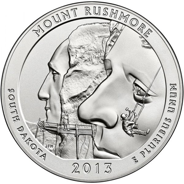 America the Beautiful Five Ounce Silver Uncirculated Coin™ Honoring South Dakota's Mount Rushmore Available November 7