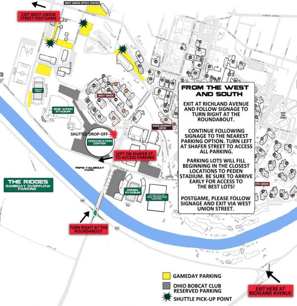 Parking Information for Saturday's Football Game at Ohio