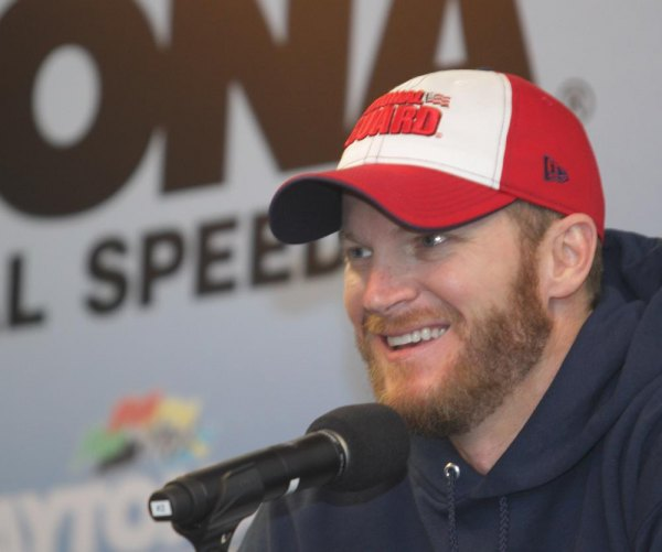 Dale Earnhardt Jr., driver if the #88 Army National Guard Chevrolet addresses the media during NASCAR Preseason Thunder at Daytona International Speedway on January 10, 2014 in Daytona Beach, Florida.